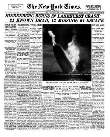 New York Times, May 7, 1937: Hindenburg Burns