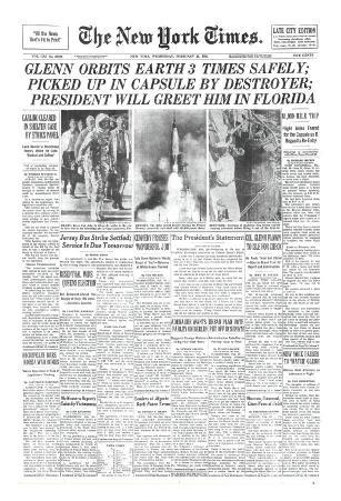 New York Times, February 21, 1962: Glenn Orbits Earth Three Times