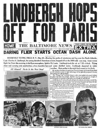 The Baltimore News, May 20, 1927: Lindbergh Hops Off for Paris