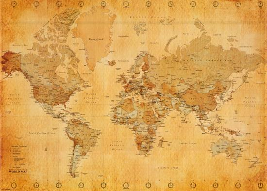 Vintage World Map Art.Vintage World Map Print At Allposters Com