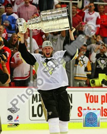 Jordan Staal Game 7 - 2008-09 NHL Stanley Cup Finals With Trophy