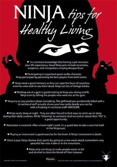 Ninja Tips For Healthy Living Tin Sign At AllPosters