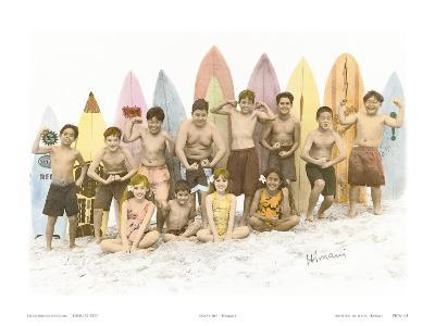 Surf's Up!, Hand Colored Photo of Hawaiian Children