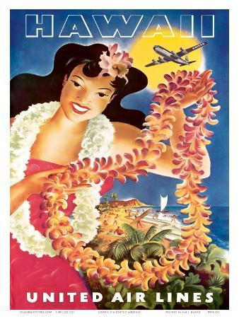 Hawaii, United Air Lines, Hawaiian Girl with Leis, c.1949