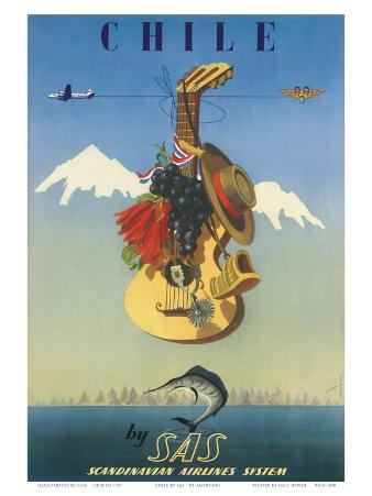 Scandinavian Airlines Chile, Gaucho Guitar, c.1951