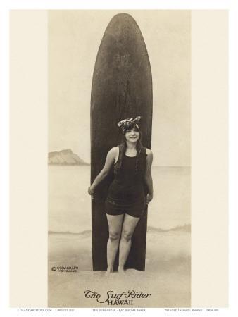 The Surf-Rider Hawaii, Girl with Surfboard, Photo Postcard c.1920