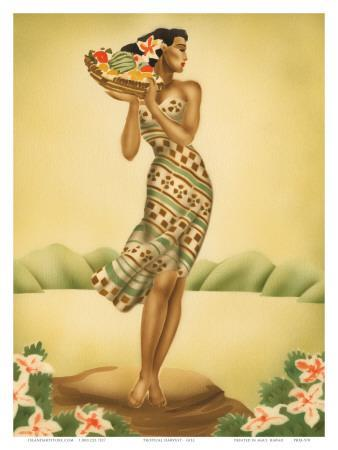 Tropical Harvest, Hawaiian Woman with Fruit, c.1930s