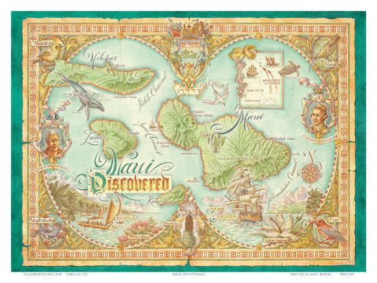 Hawaii Map Maui.Maui Discovered Vintage Map Of Maui Hawaii Prints By Dave