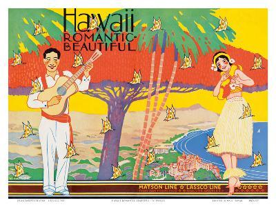 Hawaii Romantic Beautiful, Tourist Booklet Cover, 1940's