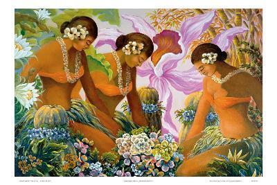 Hawaiian Hula, Women with Tropical Flowers