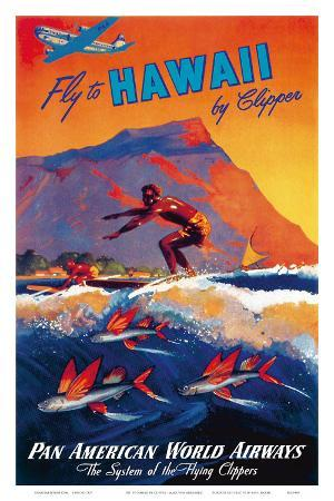 Fly To Hawaii by Clipper, Pan American World Airways c.1940s