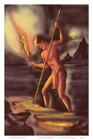Night Fisherman, Cover from The Story of Hawaii, c.1930s