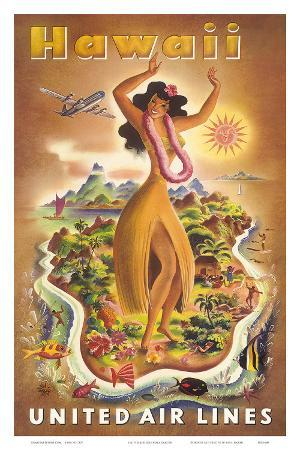 Hawaii, United Air Lines, Hula Dancer