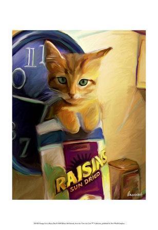 Orange Cat in Raisin Box