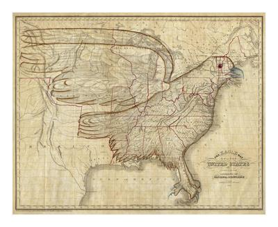 Eagle Map of the United States, c.1833