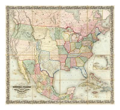 Map Of The United States Of America C 1848 Posters By J H Colton