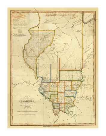 Map Of Illinois C1820 Art By John Melish At Allposterscom - Us-map-in-1820