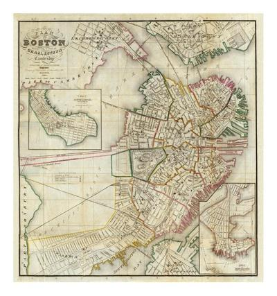 Plan of Boston Comprising a Part of Charlestown and Cambridge, c.1846
