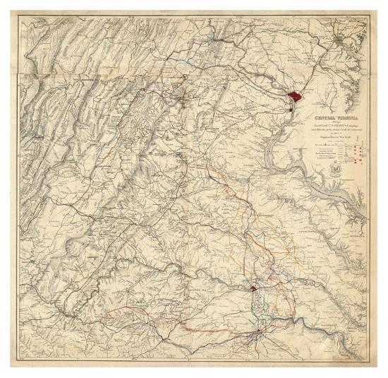 Central Virginia Map.Civil War Map Showing Grant S Campaign And Marches Through Central