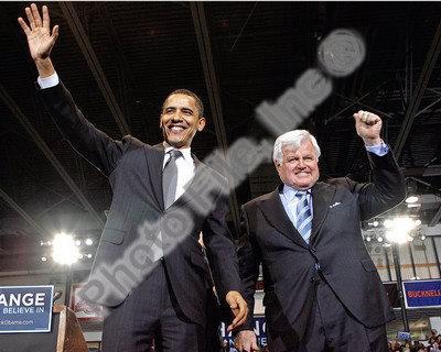 U.S. Senator Edward Kennedy & Senator Barack Obama at a 2008 Campaign Rally