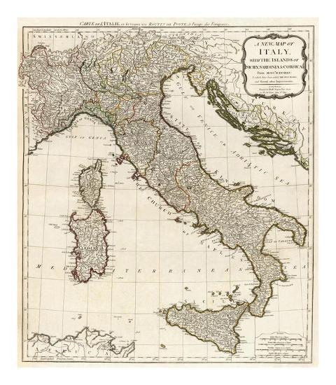 New Map Of Italy With The Islands Of Sicily Sardinia And Corsica C