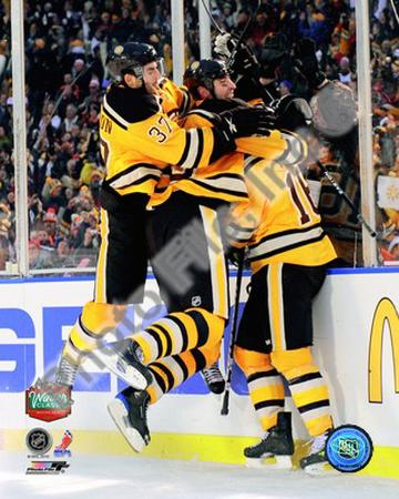 Patrice Bergeron, Zdeno Chara, & Marco Sturm Celebrate Game Winning Goal 2010 NHL Winter Classic