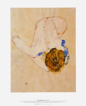 Nude with Blue Stockings Bending Forward, c.1912