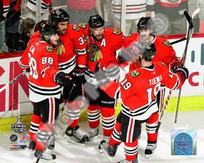 Kane, Byfuglien, Sharp, Keith, & Toews Celebrate Byfuglien's Goal in 2010 NHL Stanley Cup Finals