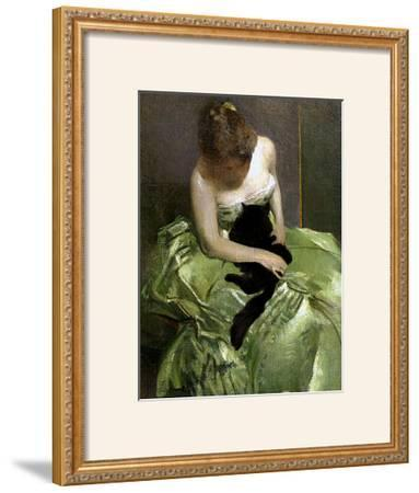 Woman in Green Dress with Black Cat