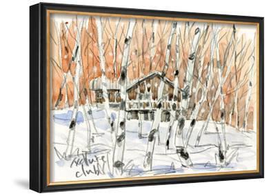 Villa in White Birch Woods, Snow Scene