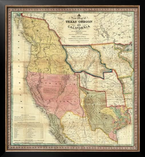 New Map Of Texas.New Map Of Texas Oregon And California C 1846