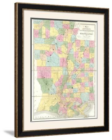 Map of Mississippi, Louisiana and Arkansas, c.1839