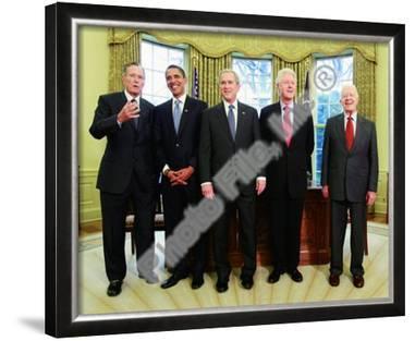 G.W. Bush w/President-elect Barack Obama & Presidents Clinton, Carter, & Bush Sr. in Oval Office.