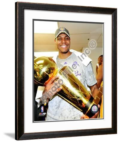 Andrew Bynum Game Five of the 2009 NBA Finals With Championship Trophy