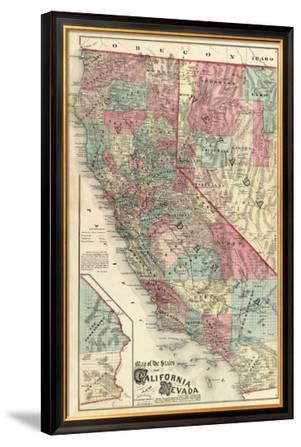 Map of the States of California and Nevada, c.1877