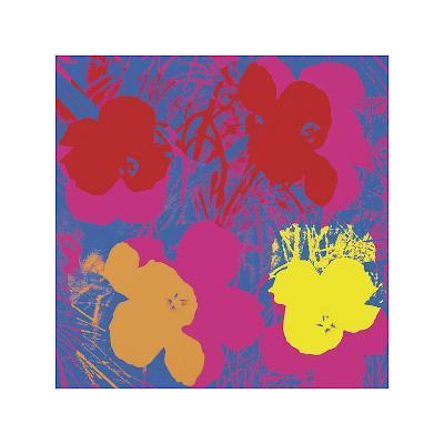 Flowers, c.1970 (Red, Yellow, Orange on Blue)