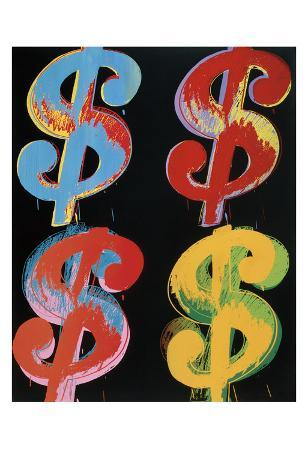 Four Dollar Signs, c.1982 (blue, red, orange, yellow)