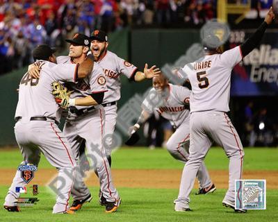 Pablo Sandoval, Freddy Sanchez, Cody Ross, Edgar Renteria, & Juan Uribe Celebrate Game Five of the