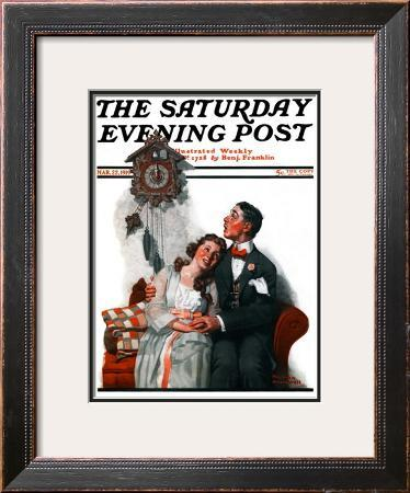 """Courting under the Clock at Midnight"" Saturday Evening Post Cover, March 22,1919"