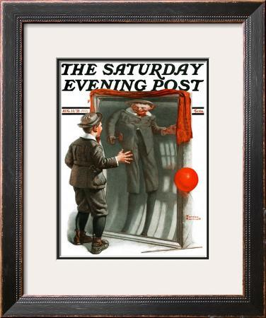 """Boy in Mirror"" or ""Distortion"" Saturday Evening Post Cover, August 13,1921"
