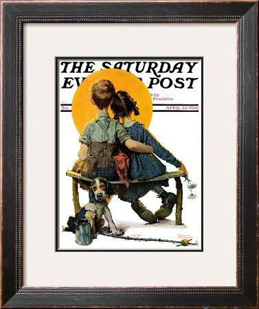 """Little Spooners"" or ""Sunset"" Saturday Evening Post Cover, April 24,1926"