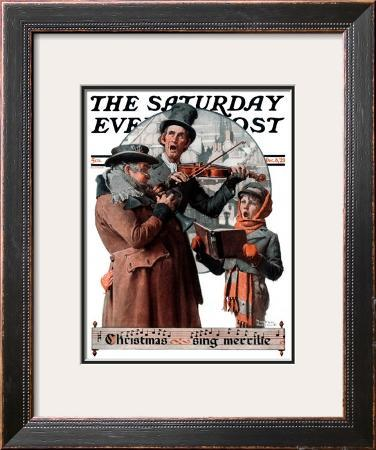 """""""Christmas Trio"""" or """"Sing Merrille"""" Saturday Evening Post Cover, December 8,1923"""