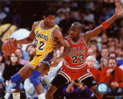 NBA Michael Jordan & Magic Johnson 1990 Action