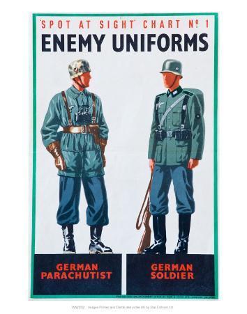 Spot at Sight Chart No. 2, Enemy Uniforms, German Parachutist, German Soldier