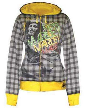 Women's Zip Hoodie: Bob Marley - Lounge Plaid All-Over