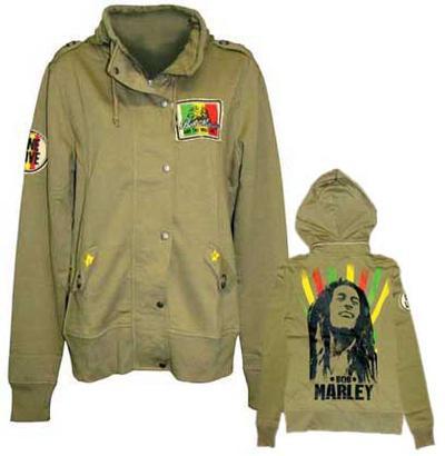 Women's Zip Hoodie: Bob Marley - Military