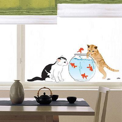 Kittens with Goldfish (Window Decal)