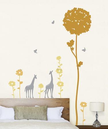 Giraffes in a Flower Field with Butterflies