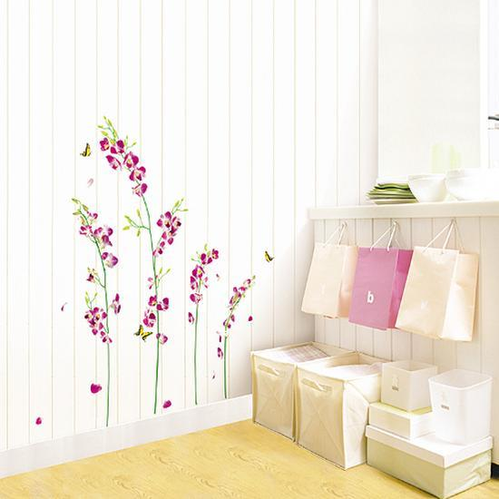 orchid tree branch stem flower butterfly wall decal at allposters