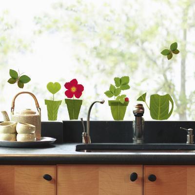 Flowerpots Window Decal Sticker